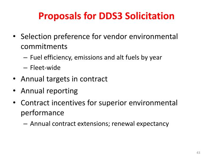 Proposals for DDS3 Solicitation