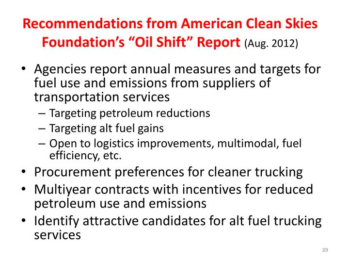 """Recommendations from American Clean Skies Foundation's """"Oil Shift"""" Report"""