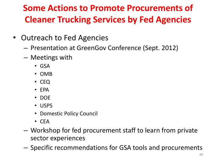Some Actions to Promote Procurements of Cleaner Trucking Services by Fed Agencies