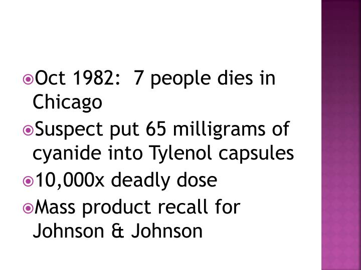 Oct 1982:  7 people dies in Chicago