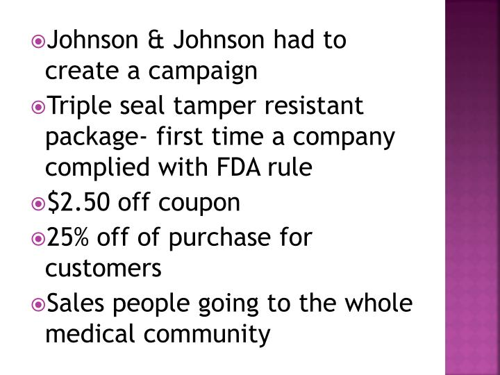Johnson & Johnson had to create a campaign