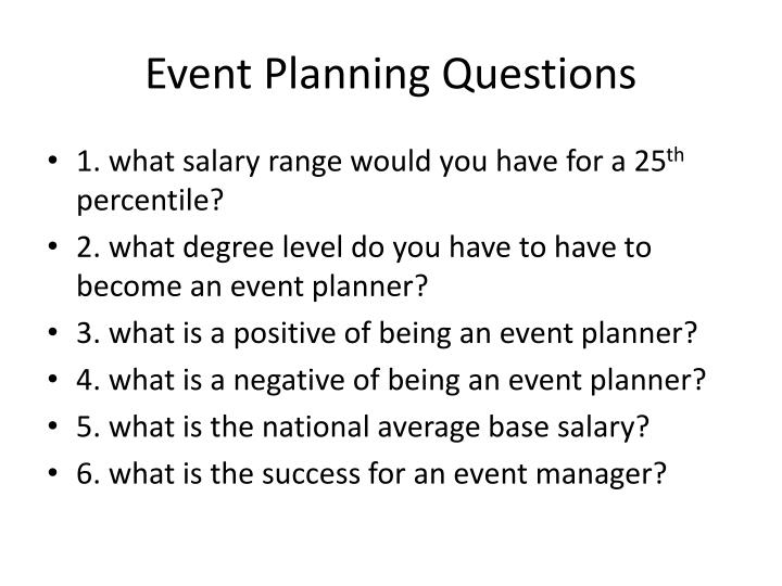 Event Planning Questions