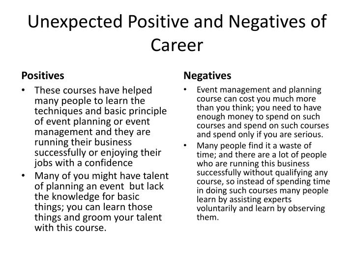 Unexpected Positive and Negatives of Career
