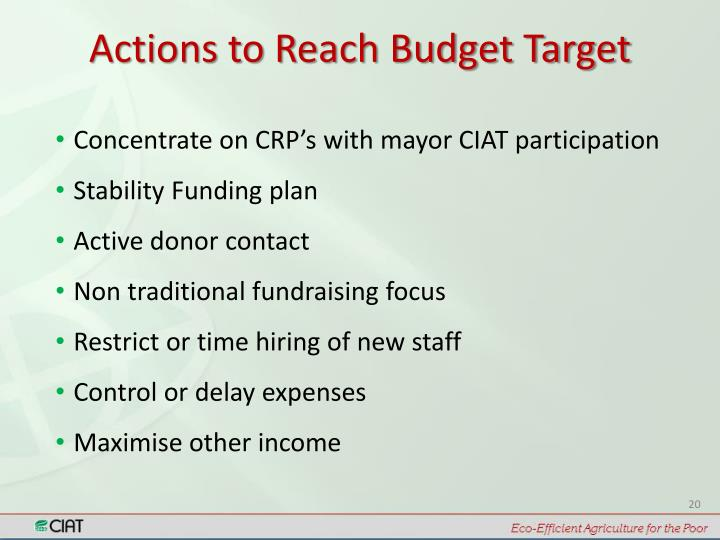 Actions to Reach Budget Target