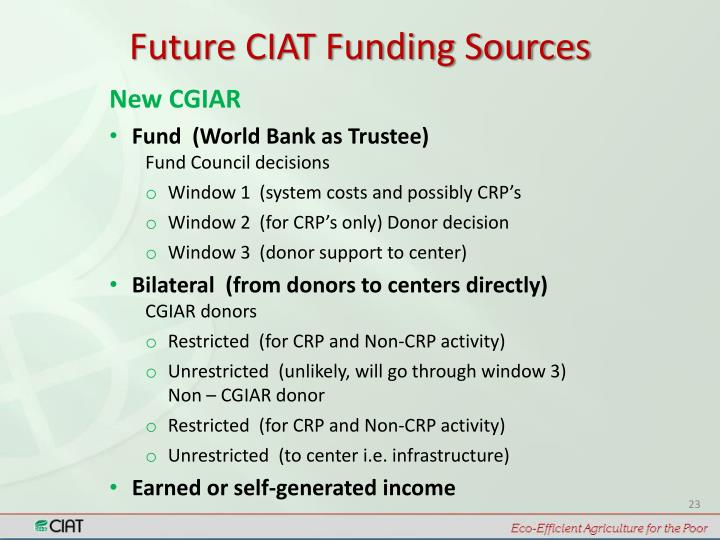 Future CIAT Funding Sources