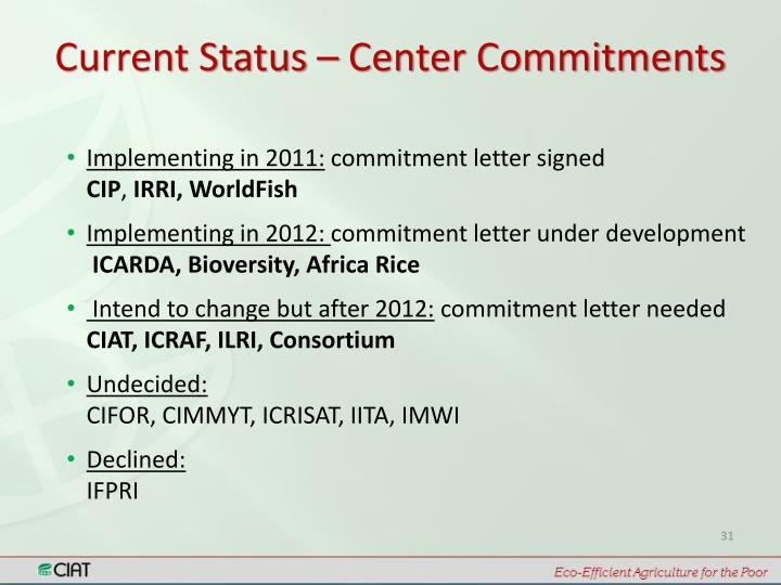 Current Status – Center Commitments