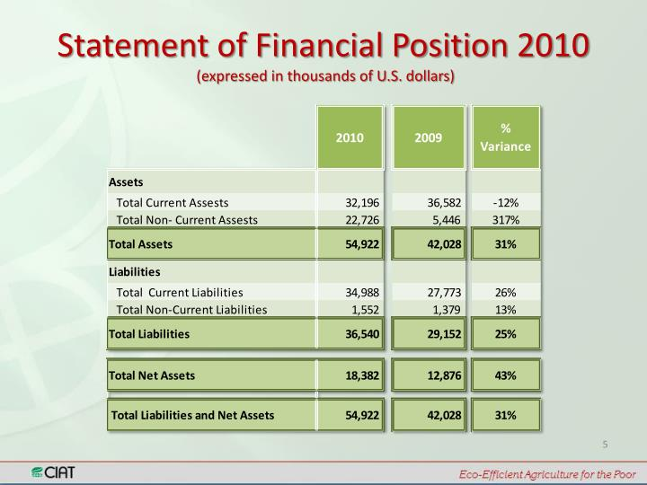 Statement of Financial Position 2010