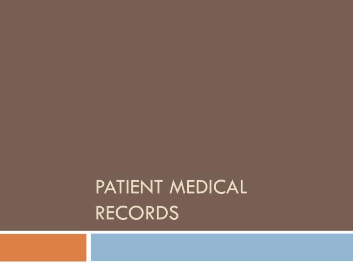 patient medical records n.