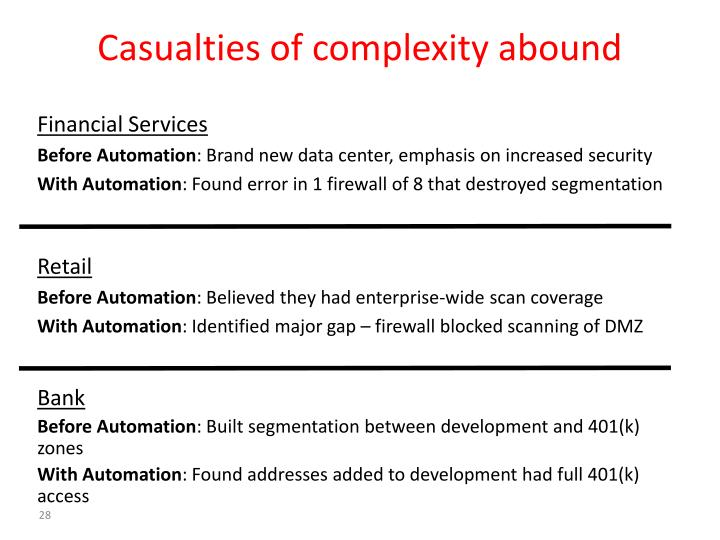 Casualties of complexity abound