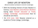 early life of newton recommendation by newton s uncle for cambridge