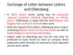 exchange of letter between leibniz and oldenberg