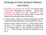 exchange of letter between newton and leibniz