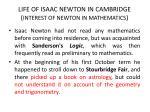 life of isaac newton in cambridge interest of newton in mathematics