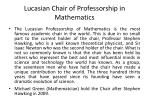 lucasian chair of professorship in mathematics