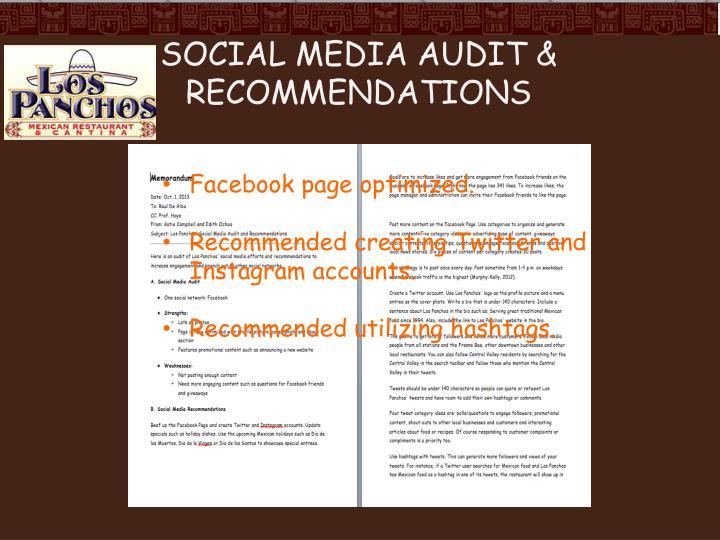 Social Media Audit & Recommendations