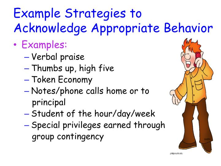 Example Strategies to Acknowledge Appropriate Behavior