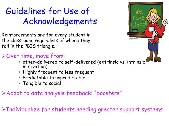 Guidelines for Use of       			Acknowledgements