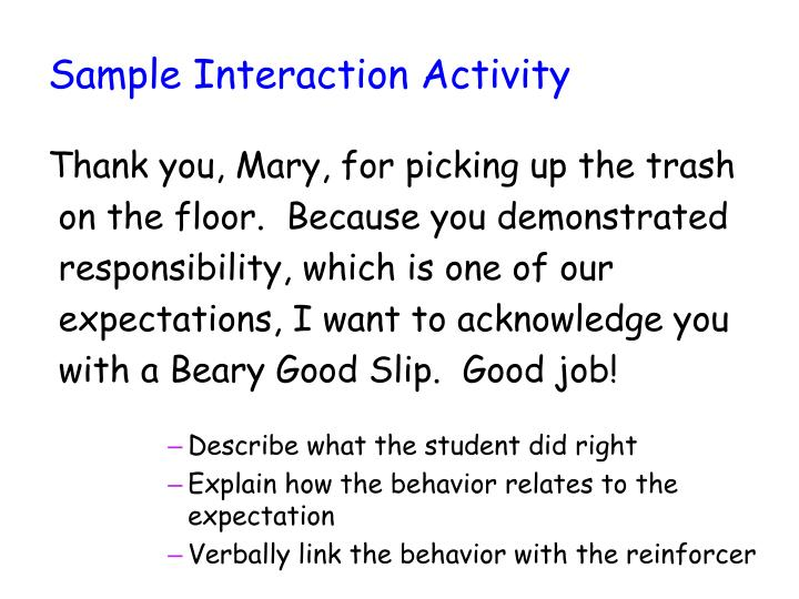 Sample Interaction Activity