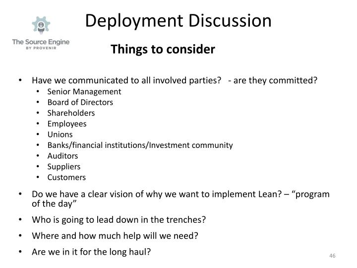 Deployment Discussion