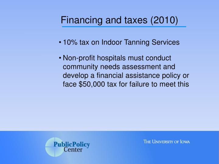 Financing and taxes (2010)