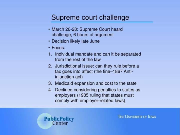 Supreme court challenge