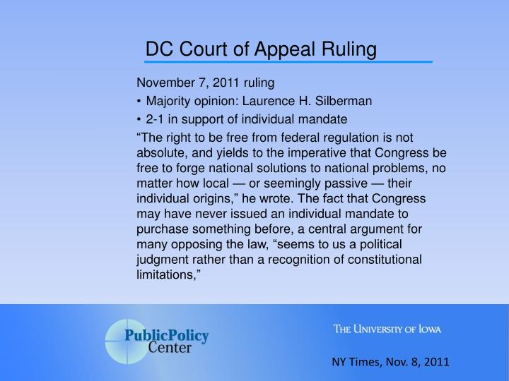 DC Court of Appeal Ruling