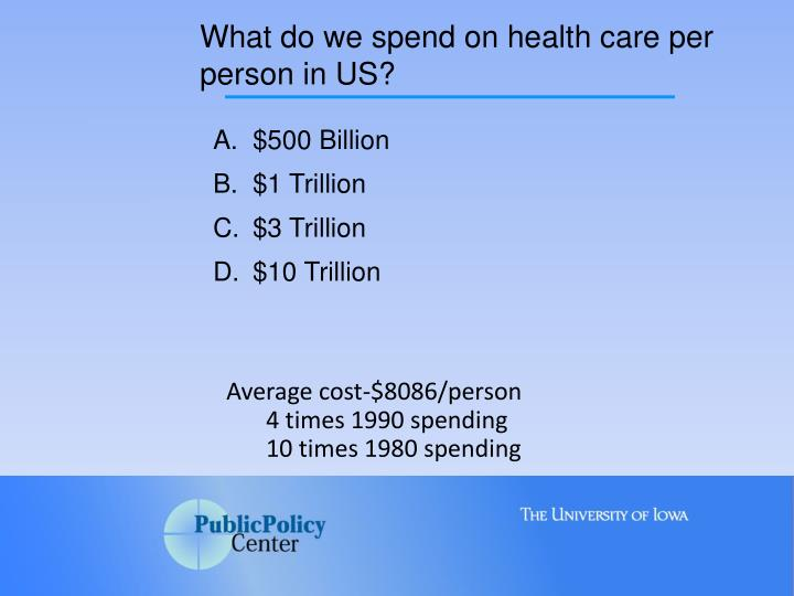 What do we spend on health care per person in US?