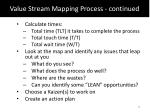 value stream mapping process continued