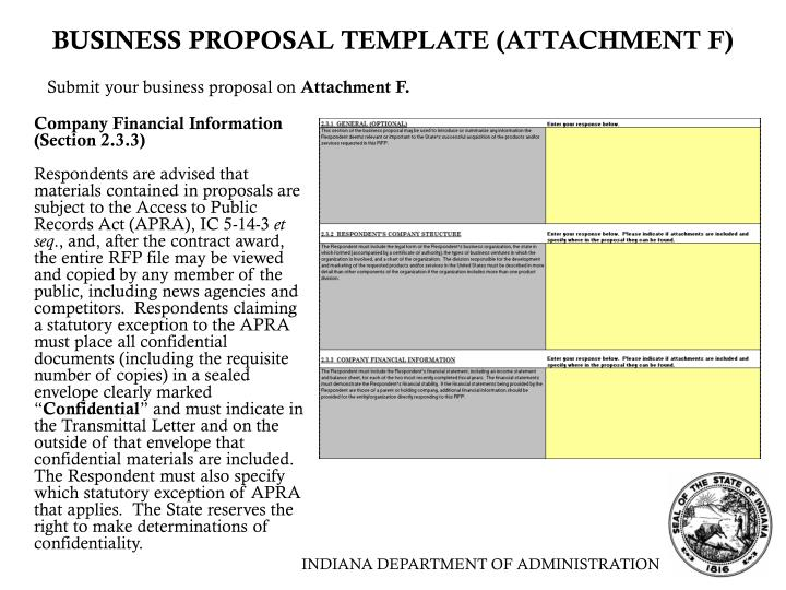 BUSINESS PROPOSAL TEMPLATE (ATTACHMENT F)