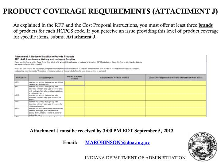PRODUCT COVERAGE REQUIREMENTS (ATTACHMENT J)