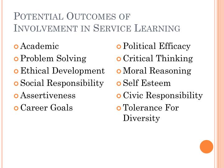 Potential Outcomes of Involvement in Service Learning