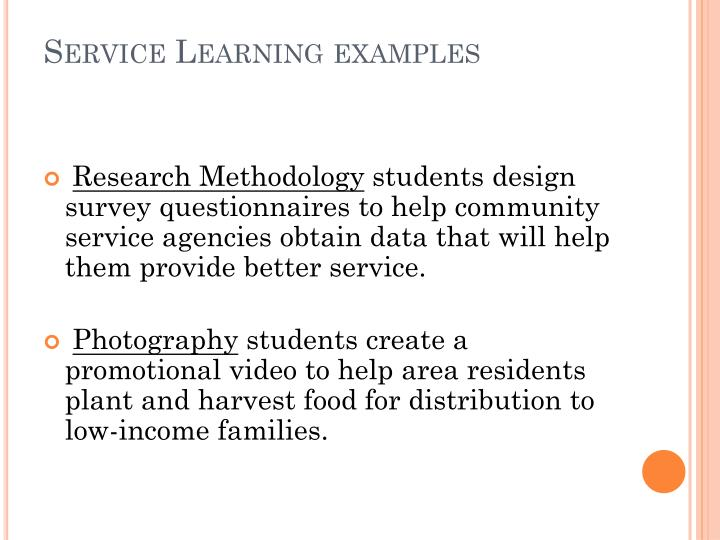 Service Learning examples