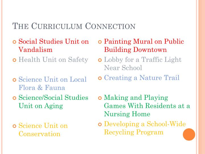 The Curriculum Connection