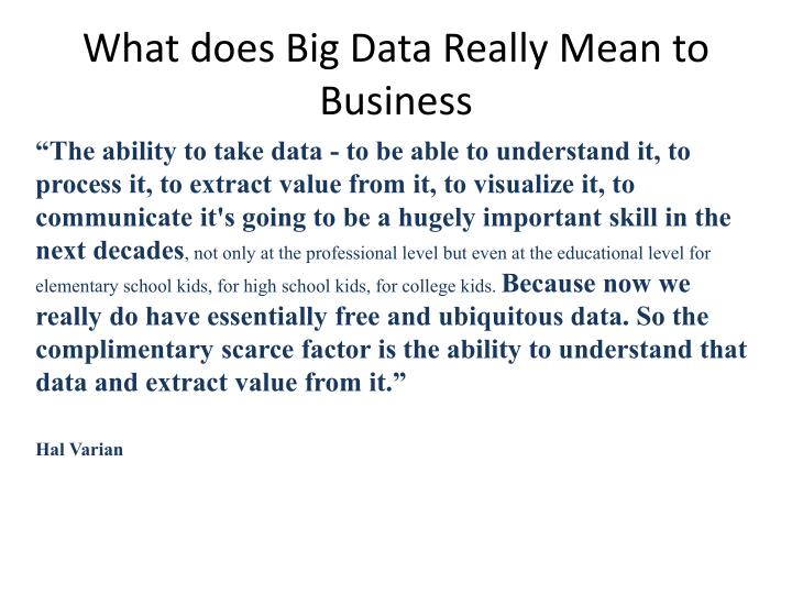 What does Big Data Really Mean to Business