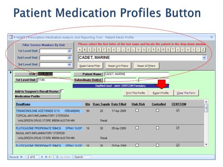 Patient Medication Profiles Button