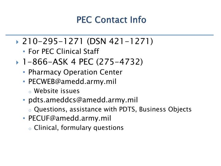 PEC Contact Info