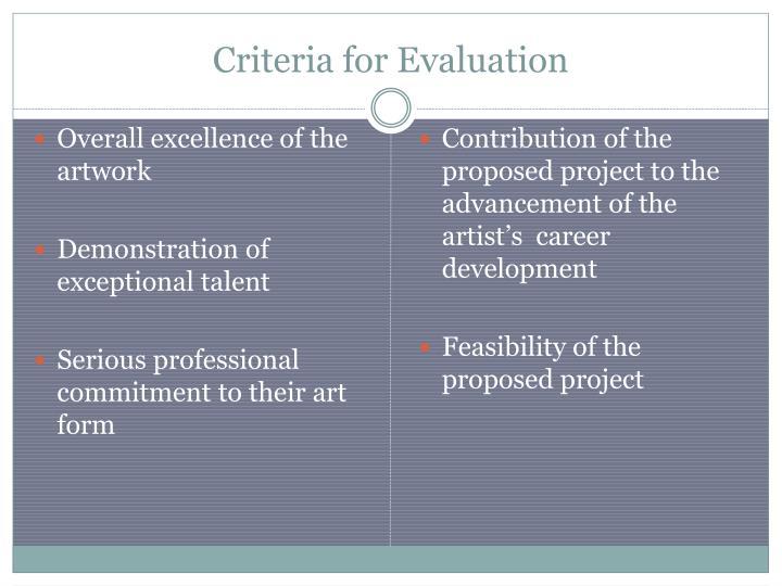 Criteria for Evaluation