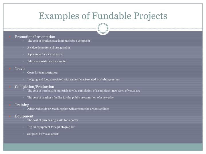 Examples of Fundable Projects