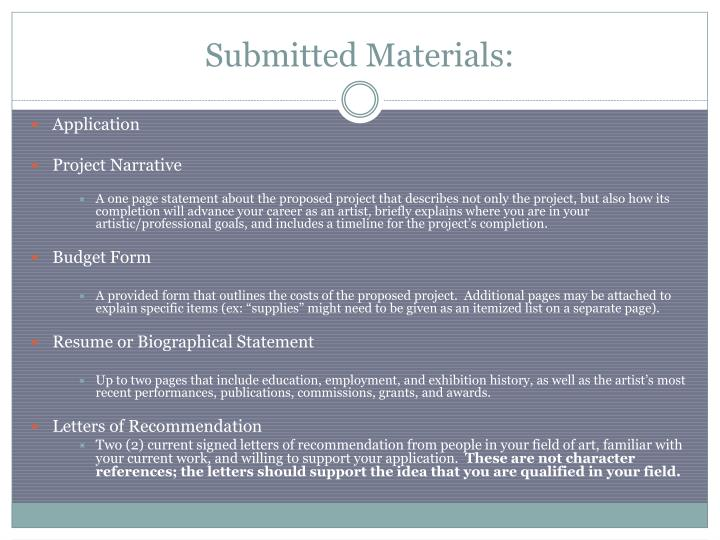 Submitted Materials:
