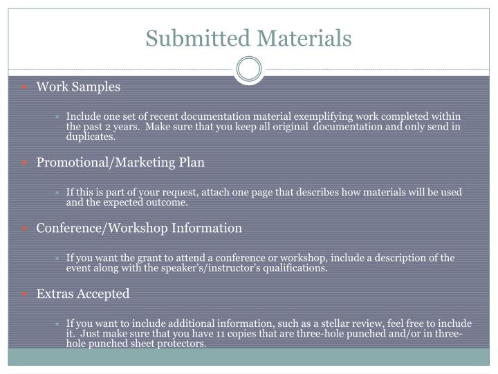 Submitted Materials