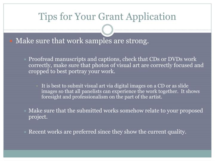 Tips for Your Grant Application