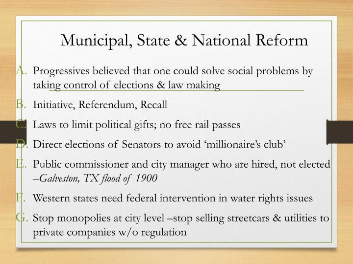 Municipal, State & National Reform