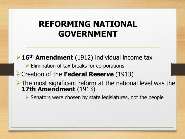 REFORMING NATIONAL GOVERNMENT