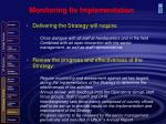 monitoring its implementation