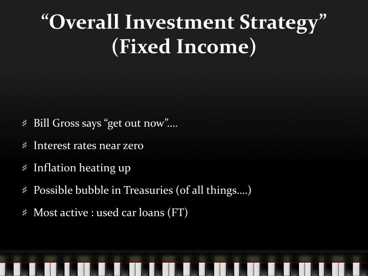 """""""Overall Investment Strategy"""" (Fixed Income)"""