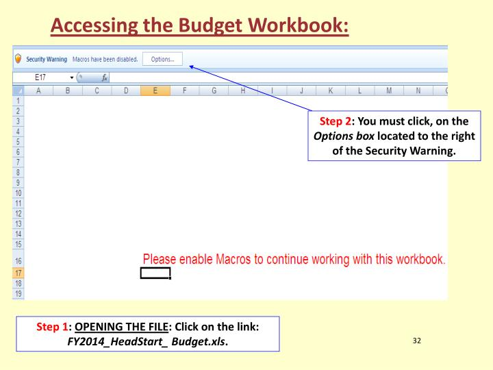 Accessing the Budget Workbook: