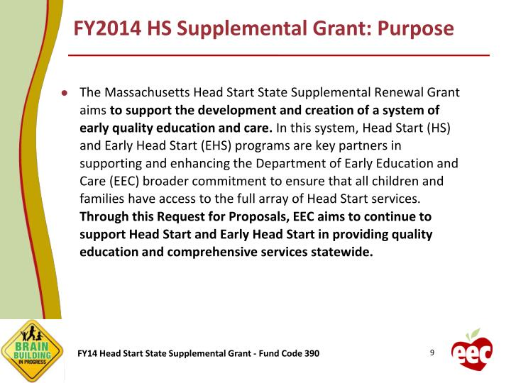 FY2014 HS Supplemental Grant: Purpose