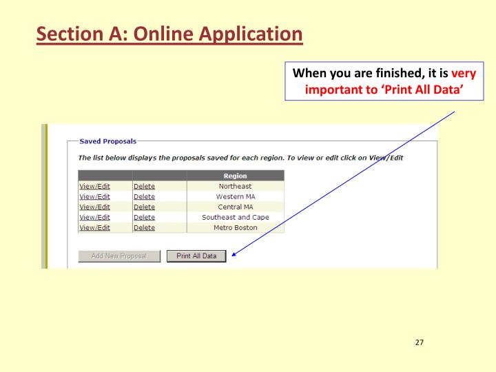Section A: Online Application
