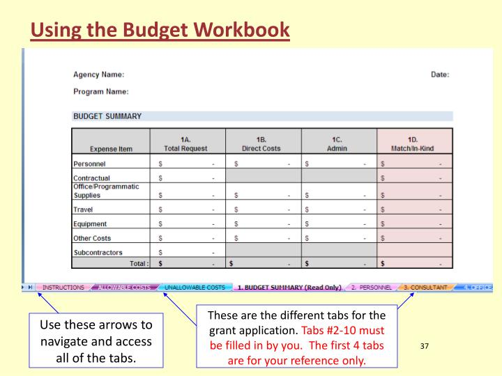 Using the Budget Workbook