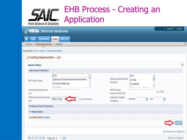 EHB Process - Creating an Application